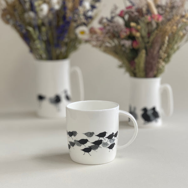 BARREL MUG: SANDERLING bone china bird mug