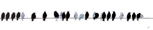 print: 'Starlings on telegraph wires' by Sandra Vick, artist quality print handsigned by the artist