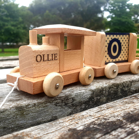personalised wooden trains