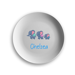 PERSONALISED ELEPHANT FAMILY PLATE