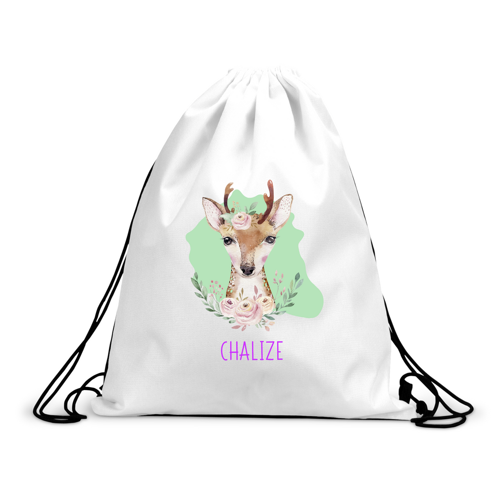 Personalised Deer Drawstring Bag