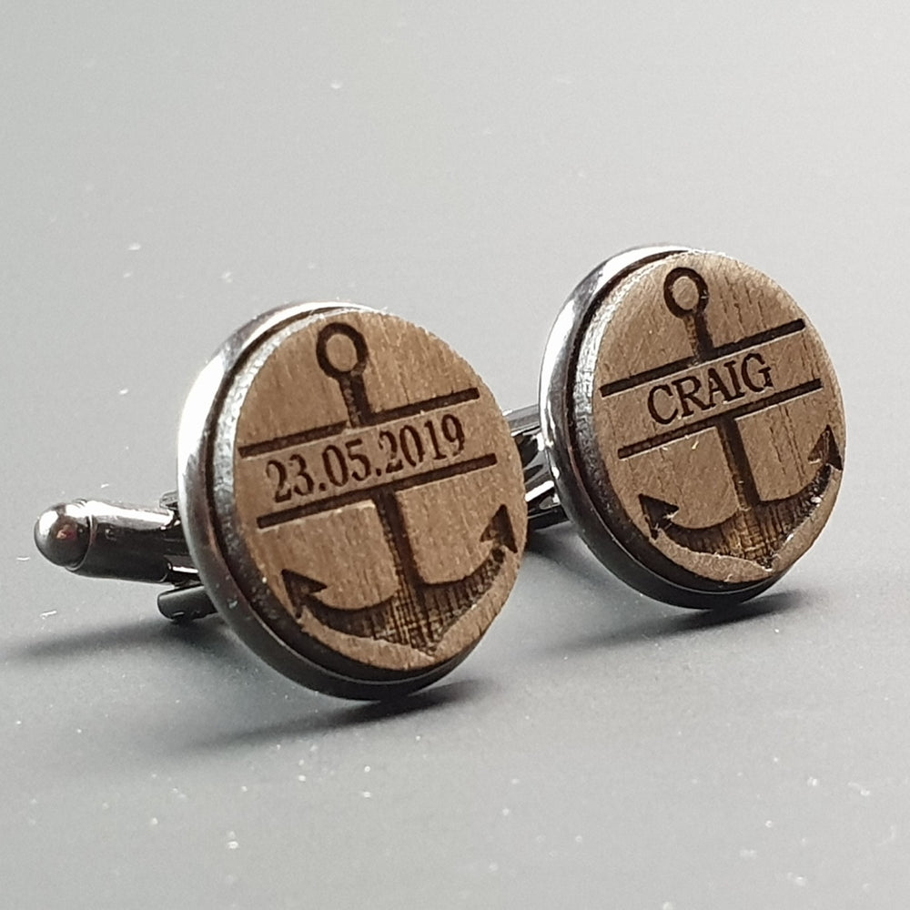 Personalised Cufflinks Anchor