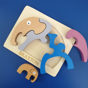 Personalised Elephant Wooden Puzzle