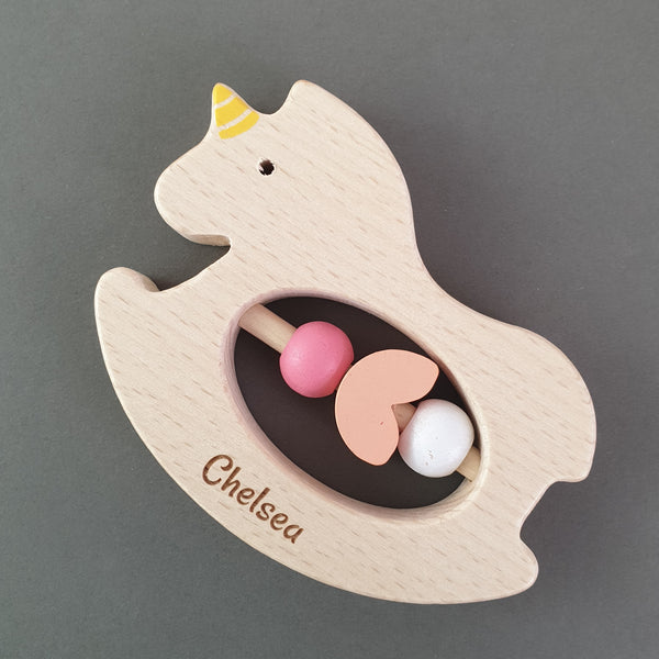 Personalised Baby Unicorn Teether Rattle