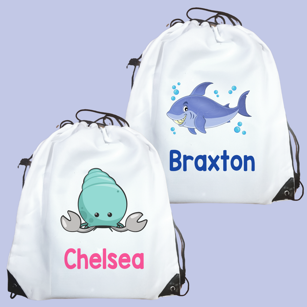 Personalised Sea Creatures Drawstring Bag