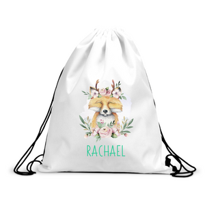 Personalised Fox Drawstring Bag