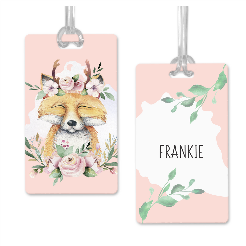 Double Sided Personalised Fox Bag Tags