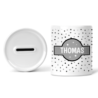Personalised Money Box - Grey Stars