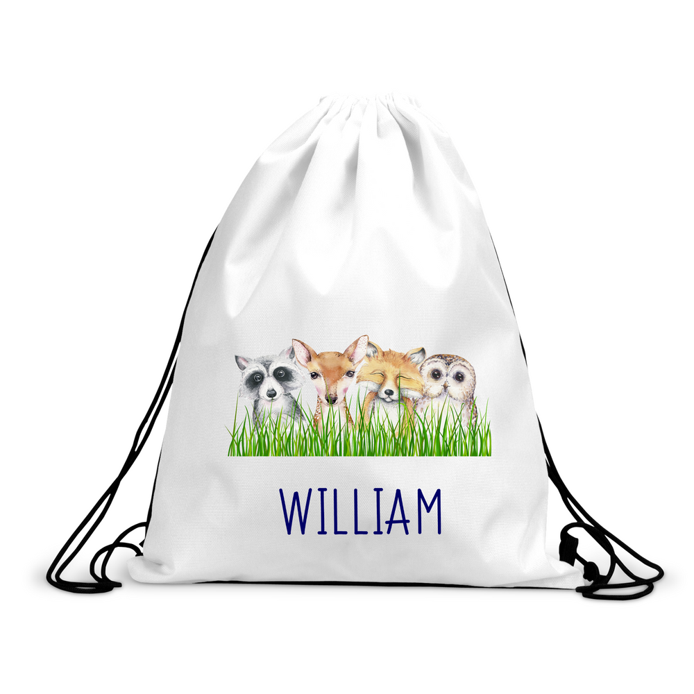Personalised Forest Animals Drawstring Bag