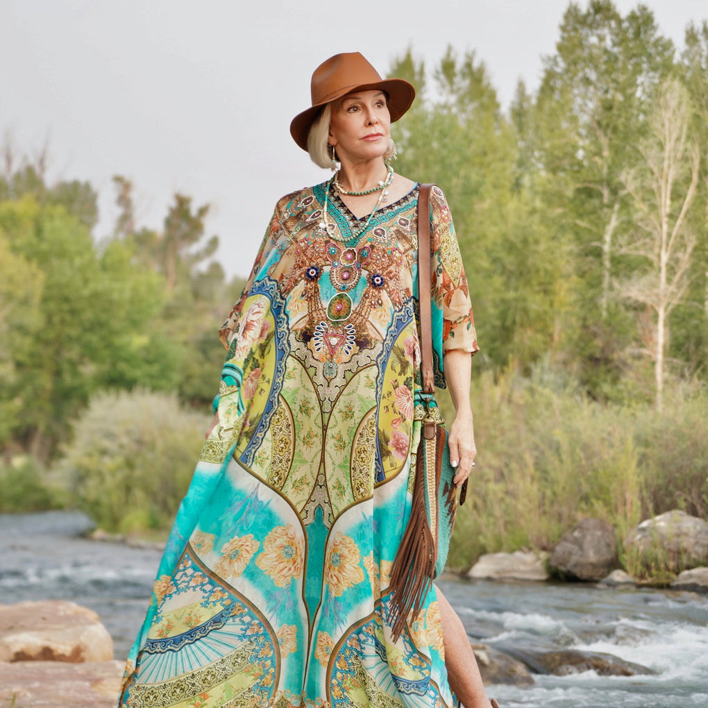 Floral printed colourful Silk long kaftan with beaded V neck