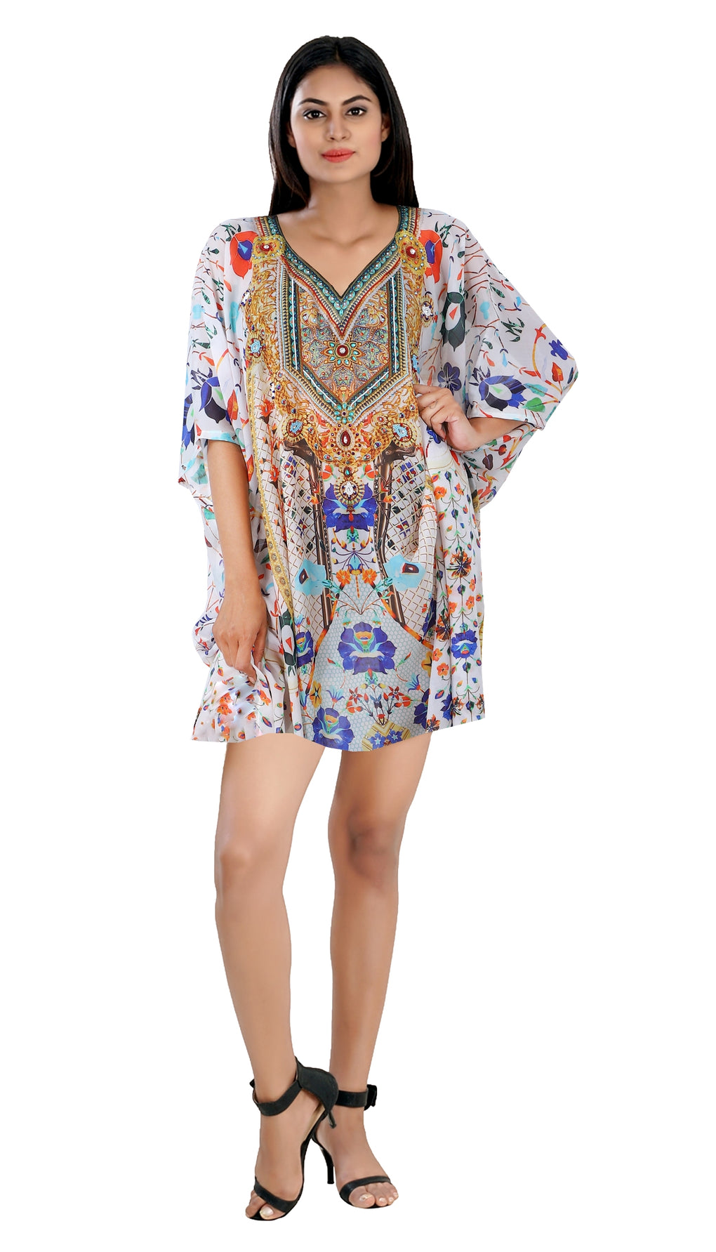 Floral printed Silk Kaftan Resort wear Beach Cover up Evening Maxi Dress short kaftan - Silk kaftan