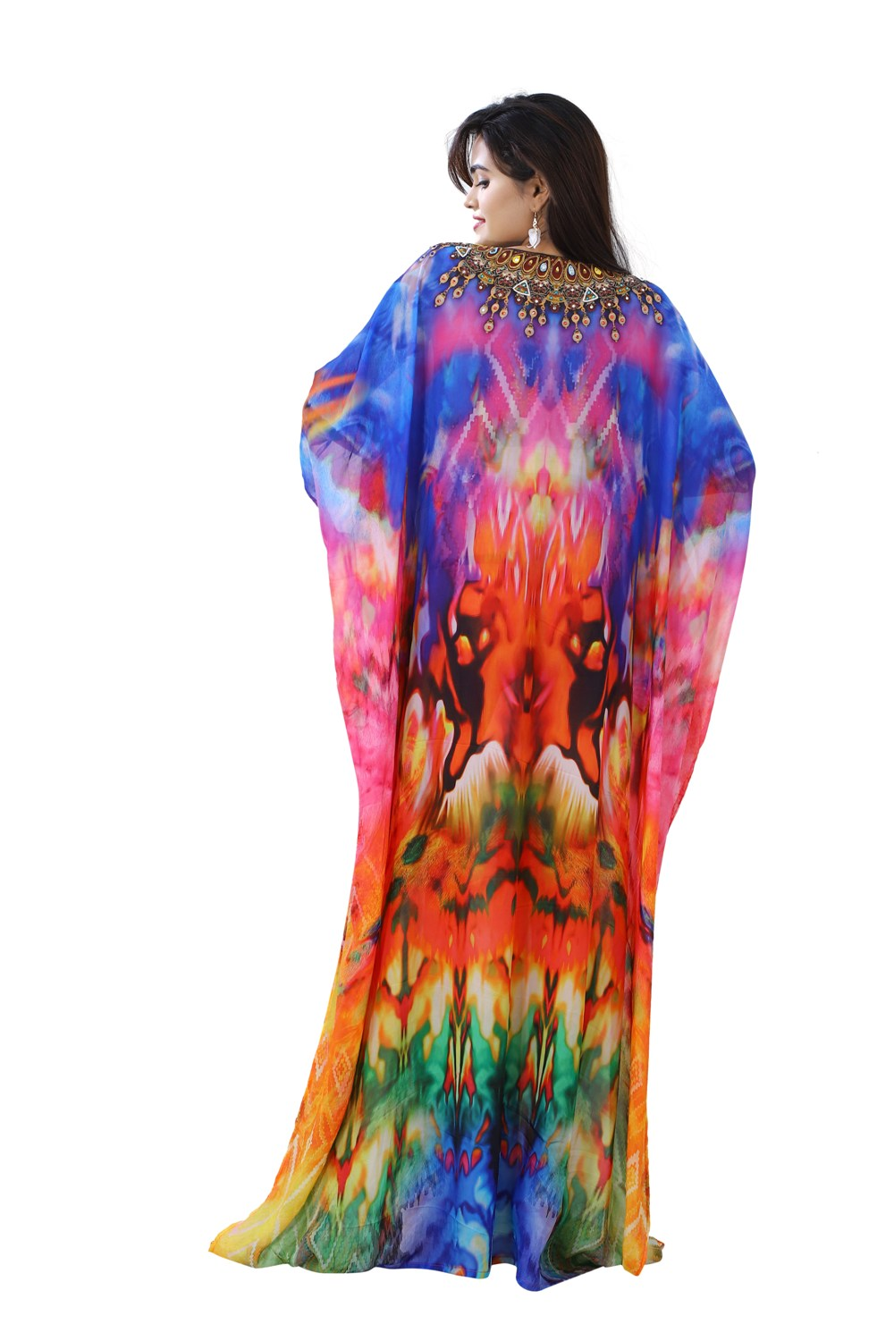 Baby Shower Assorted gaudy Silk Kaftan styled with Laced Deep Neckline and Ornamental touch - Silk kaftan