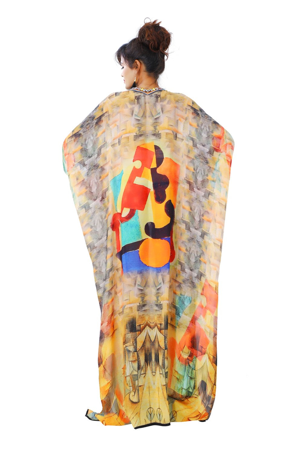 Want to party tonight?? Here's the perfect choice…Eye-catching Silk Kaftan Lace up Picasso print Deep V neck - Silk kaftan