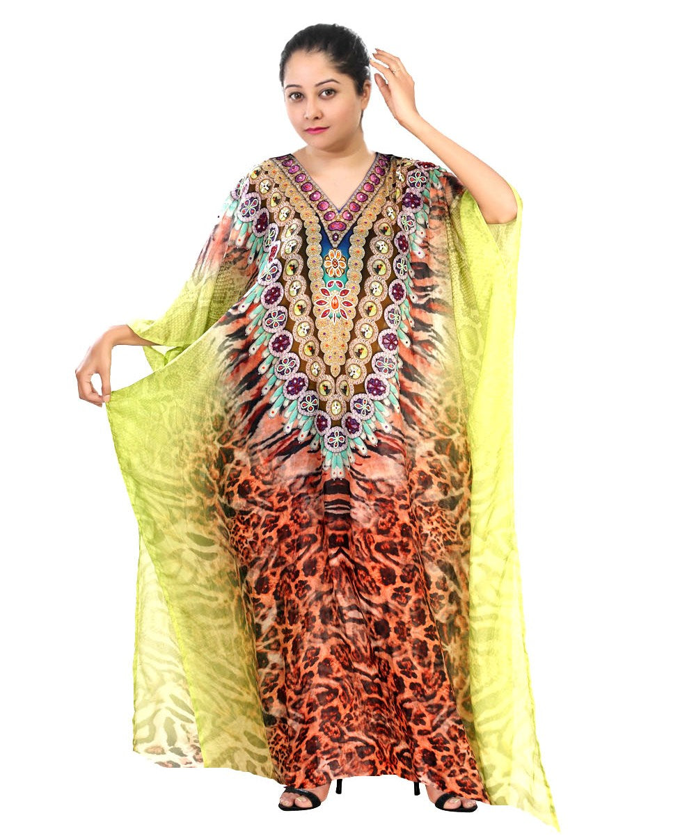 Animal Print kaftan Plus size sequin Designer Resort wear silk kaftans bikini kaftan for shorties women - Silk kaftan