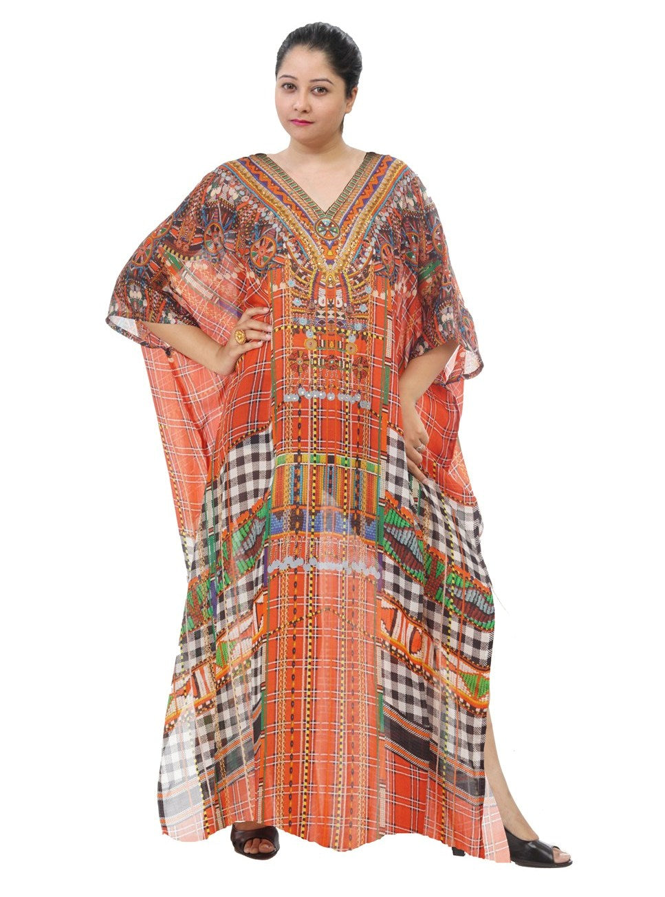 Beach kaftan Dress Plus size sequin Designer Resort wear silk kaftans bikini kaftan for shorties - Silk kaftan