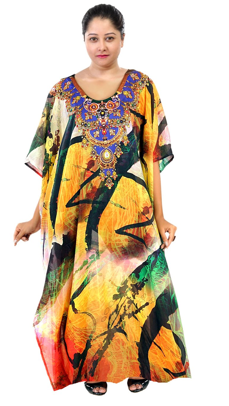 Designer Print kaftan dress plus size sequin kaftan silk Long kaftan for shorties Silk kaftan Maxi Dress - Silk kaftan