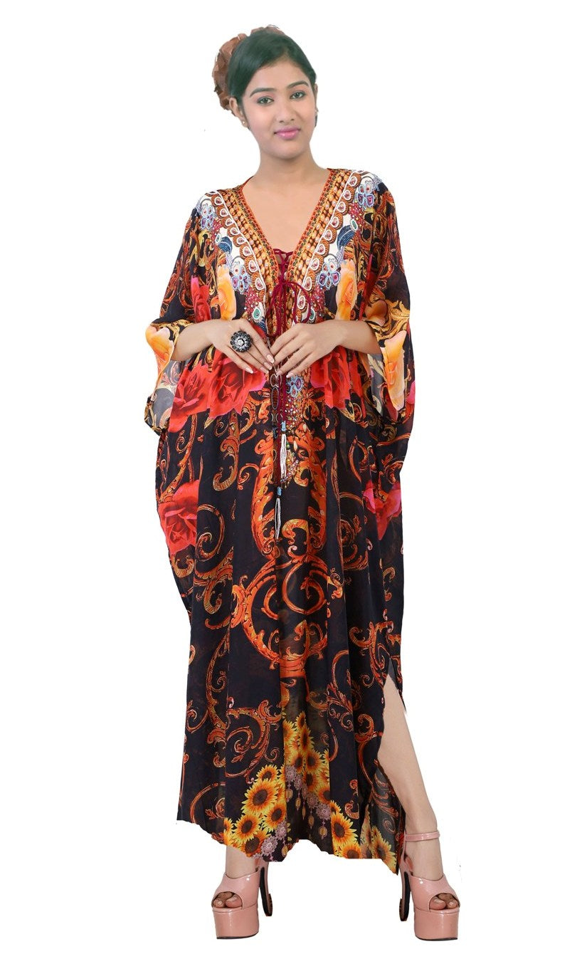 Lace Up Beach party kaftan dress embellished plus size sequin Silk Long kaftan for shorties - Silk kaftan