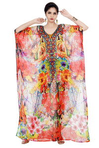 Imperial Art of Floral Print on long Silk Kaftan with Embroidery of Beads at the centre