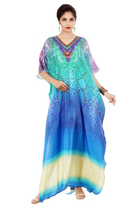 Turquoise Python Printed Silk Kaftan with bottom splits and Beaded Ornamented Neck