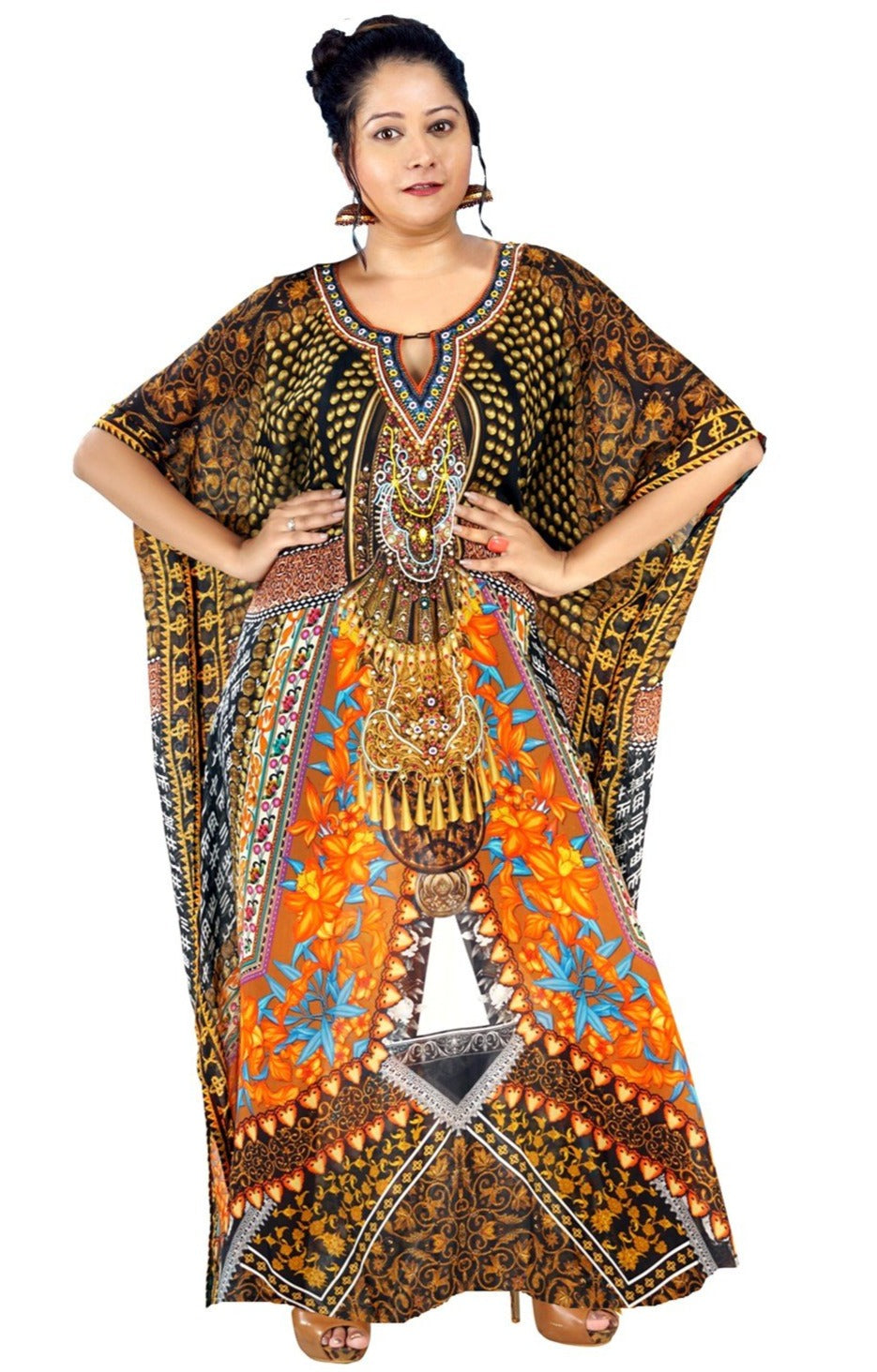 kaftan silk dress