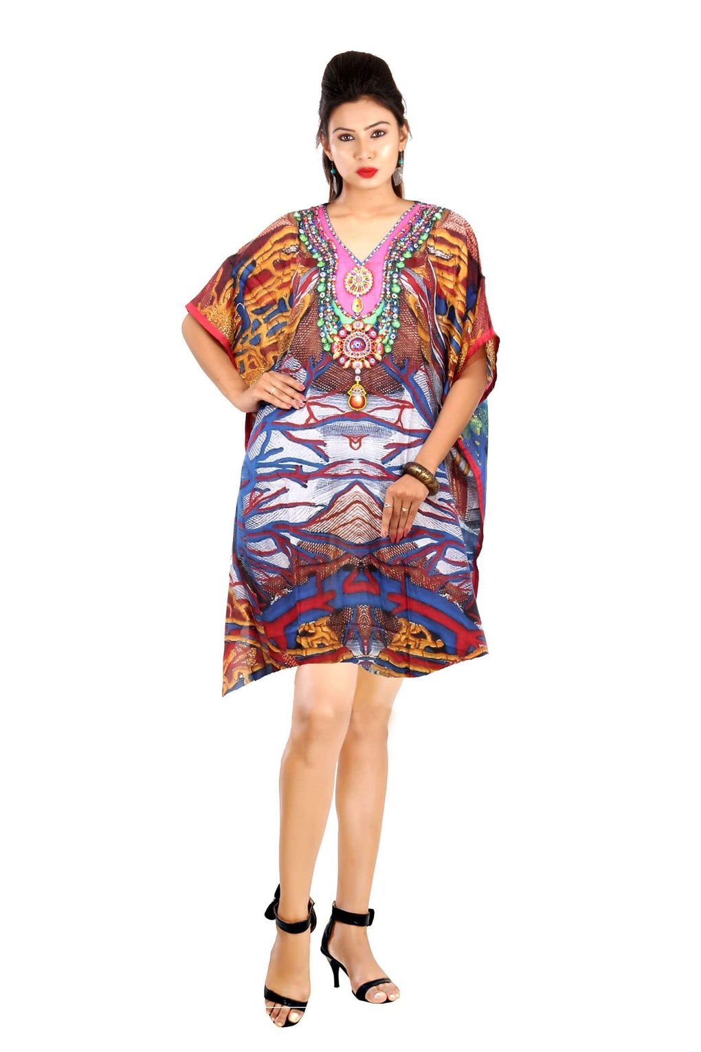 A forest print kaftan with tree branches embarking on it and fire flame and back of mix secondary colours silk kaftan - Silk kaftan