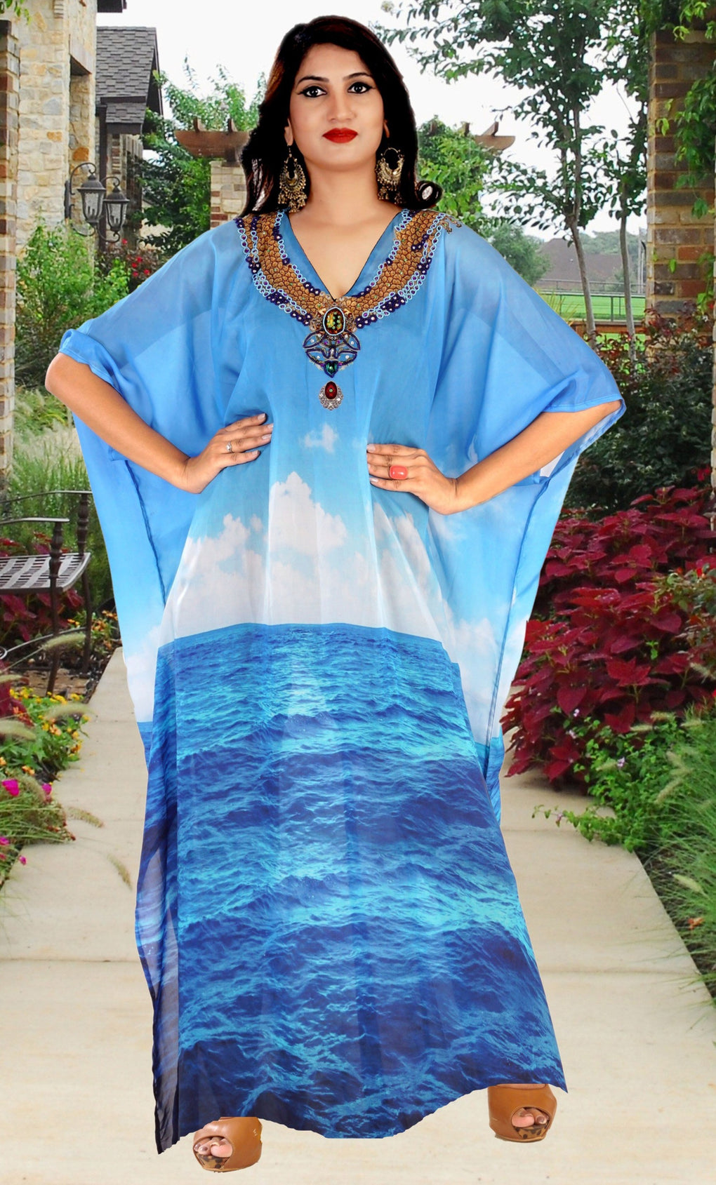 Silk Beach party kaftan dress plus size sequin kaftan silk full length kaftan for shorties - Silk kaftan