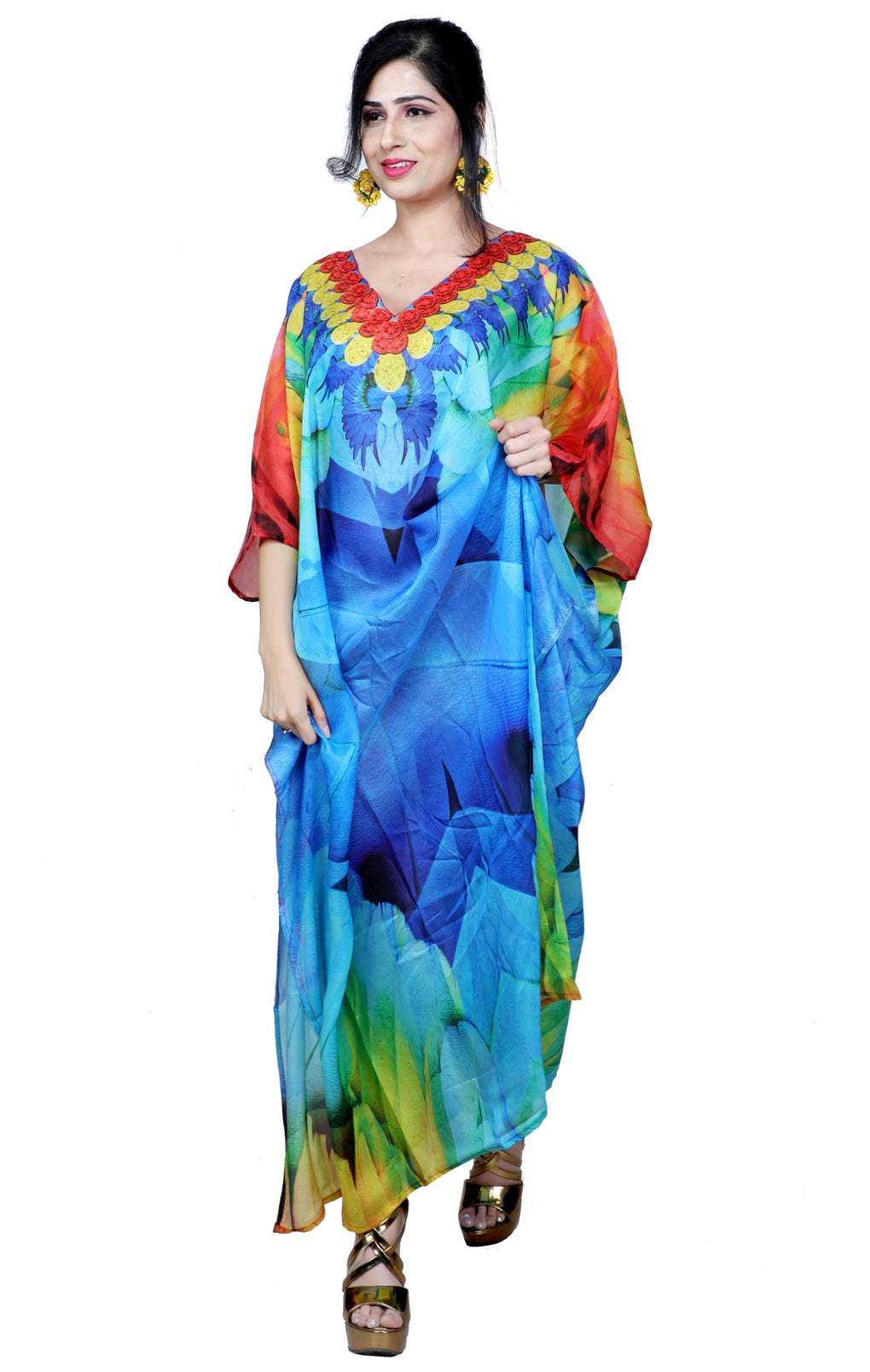 Designer Print Silk Caftan, Womens Silk Kaftan, Silk Dress, Silk Beach Coverup, Long Silk Caftan, Plus Size - Silk kaftan