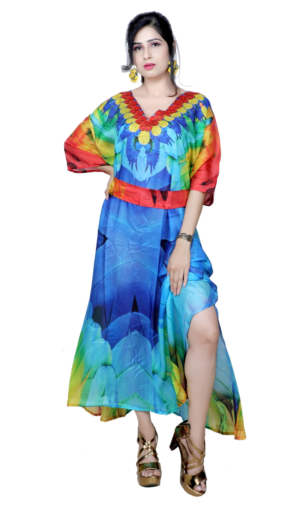 Maccaw bird print Designer Print without beads Silk Caftan Womens Silk Kaftan Silk Dress Silk Beach Coverup Long Silk Caftan for short women - Silk kaftan