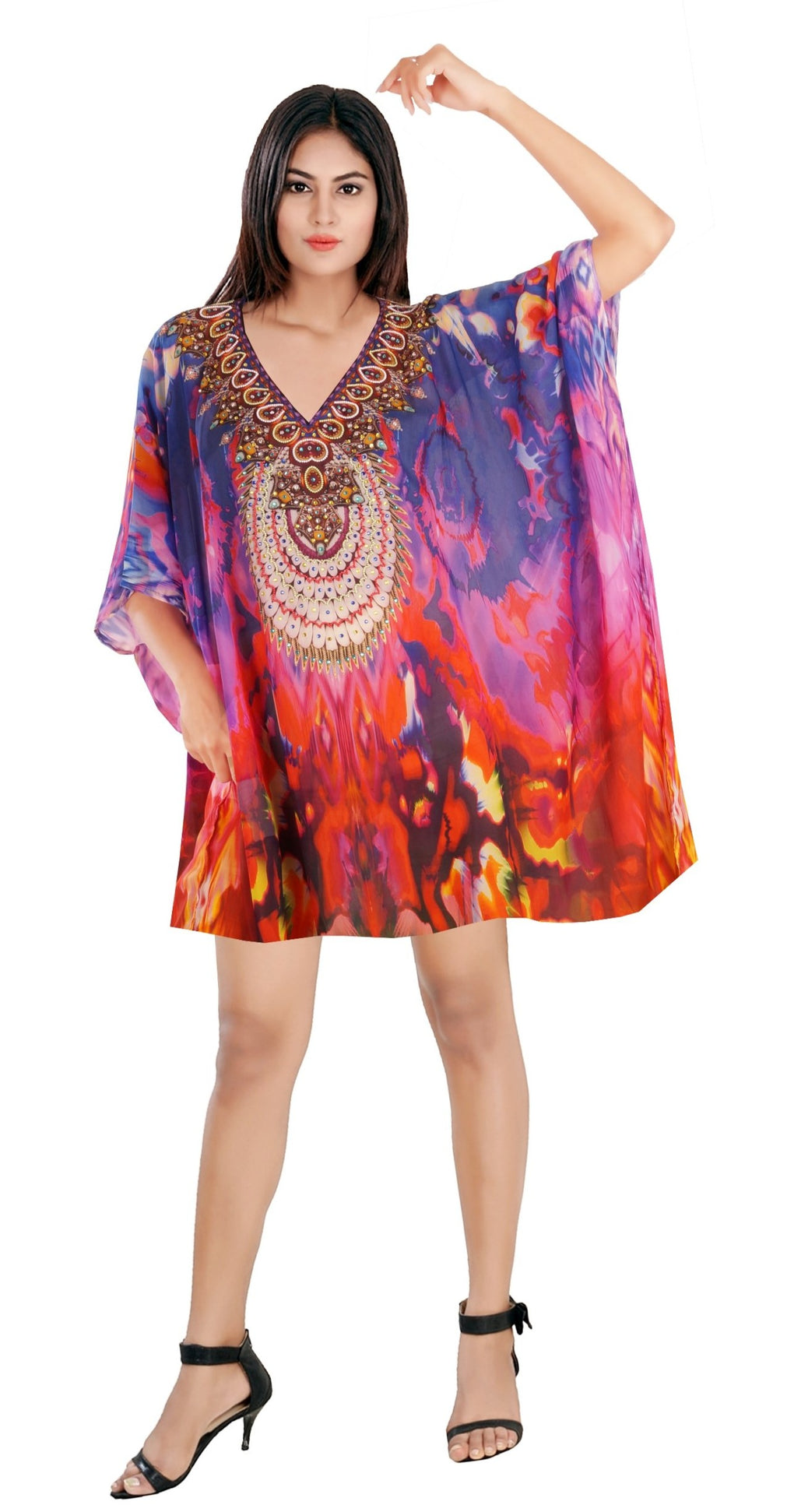 Multicolored Short unique style Silk Kaftan with Side cuts and Flamboyant Abstract Print embellishing over all Silk caftan tunic - Silk kaftan