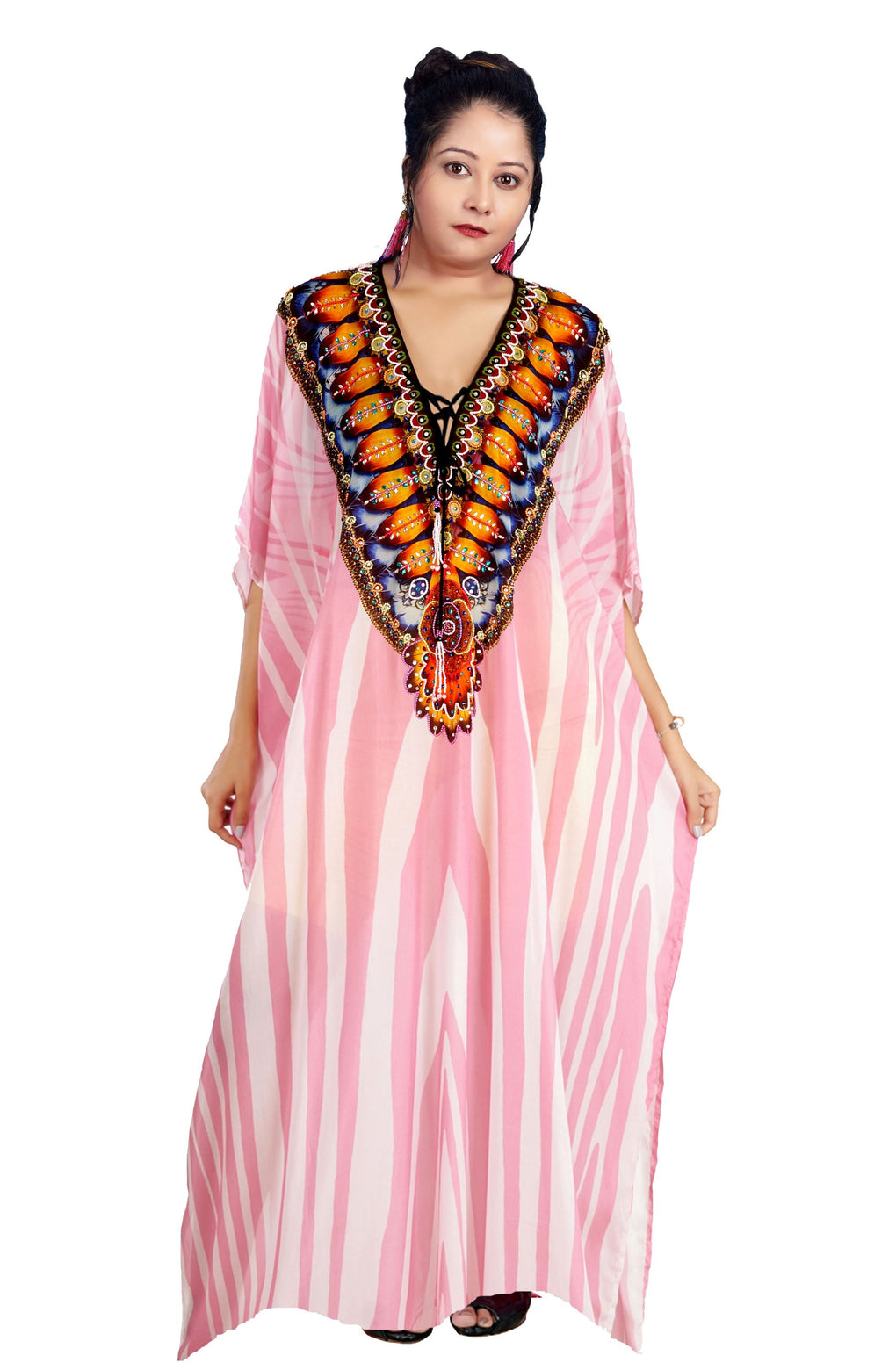 Lace Up kaftan Hand made kaftan Full length kaftan for short women swim wear cover up silk kaftan - Silk kaftan