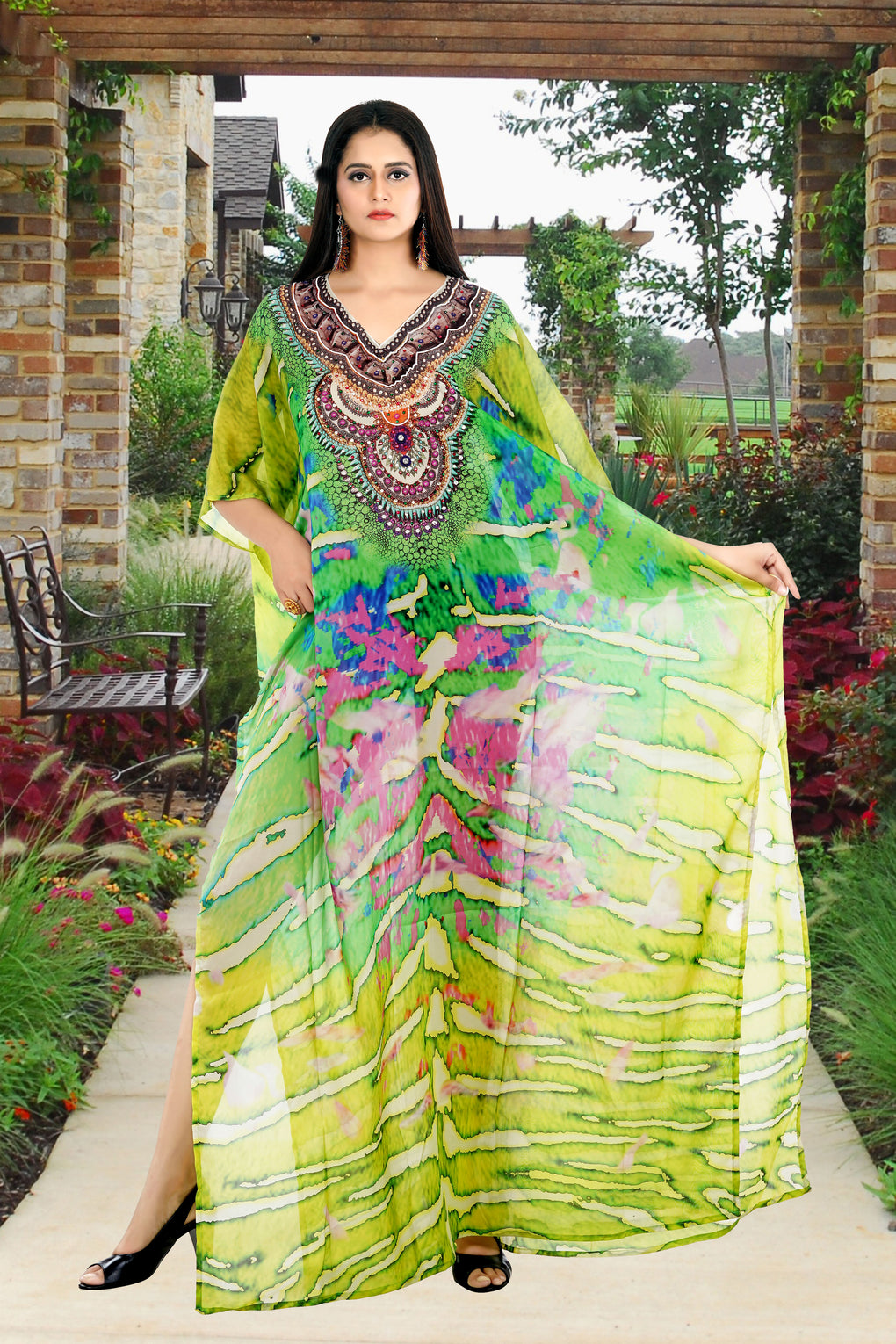 Green Camouflage Print Silk Kaftan Dress designed for Special events and Holidays - Silk kaftan