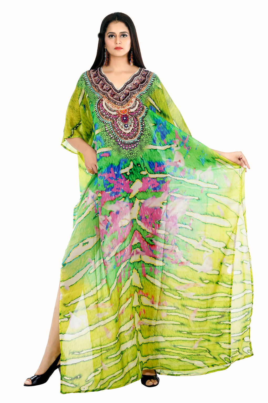 Green Camouflage Print Silk Kaftan Dress designed for Special events and Holidays