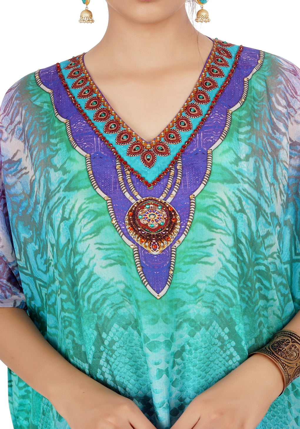 Turquoise Python Printed Silk Kaftan with bottom splits and Beaded Ornamented Neck - Silk kaftan