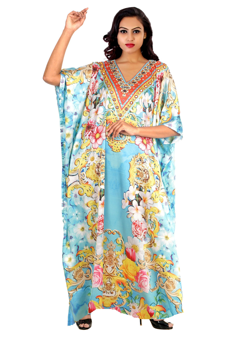 Long kaftan for short women Beach party kaftan embellished plus size kaftan - Silk kaftan