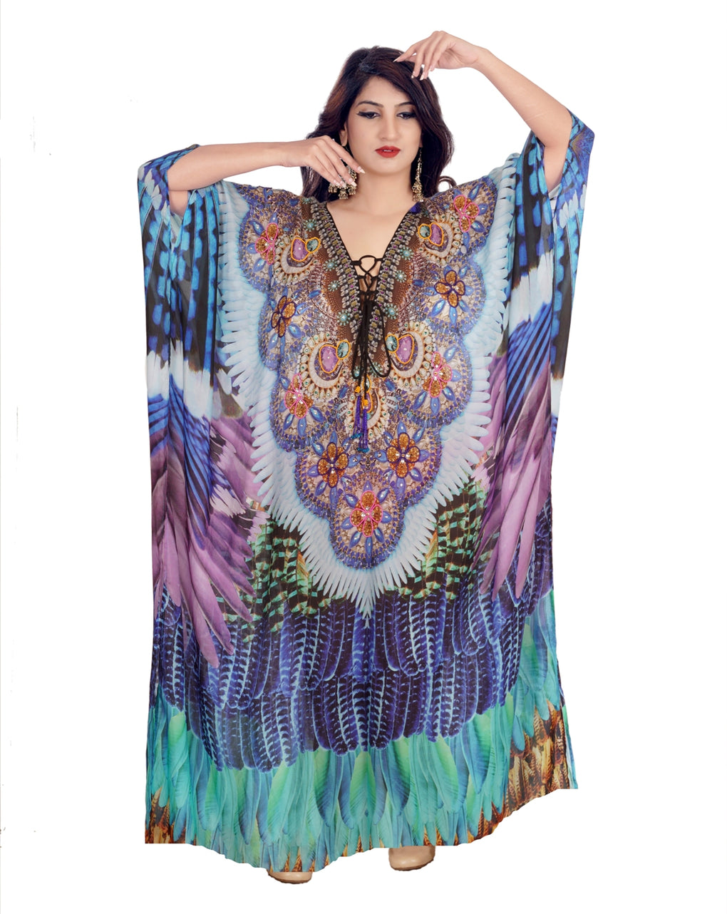 Lace Up kaftan Floral Print kaftan dress plus size sequin kaftan silk full length kaftan for shorties - Silk kaftan