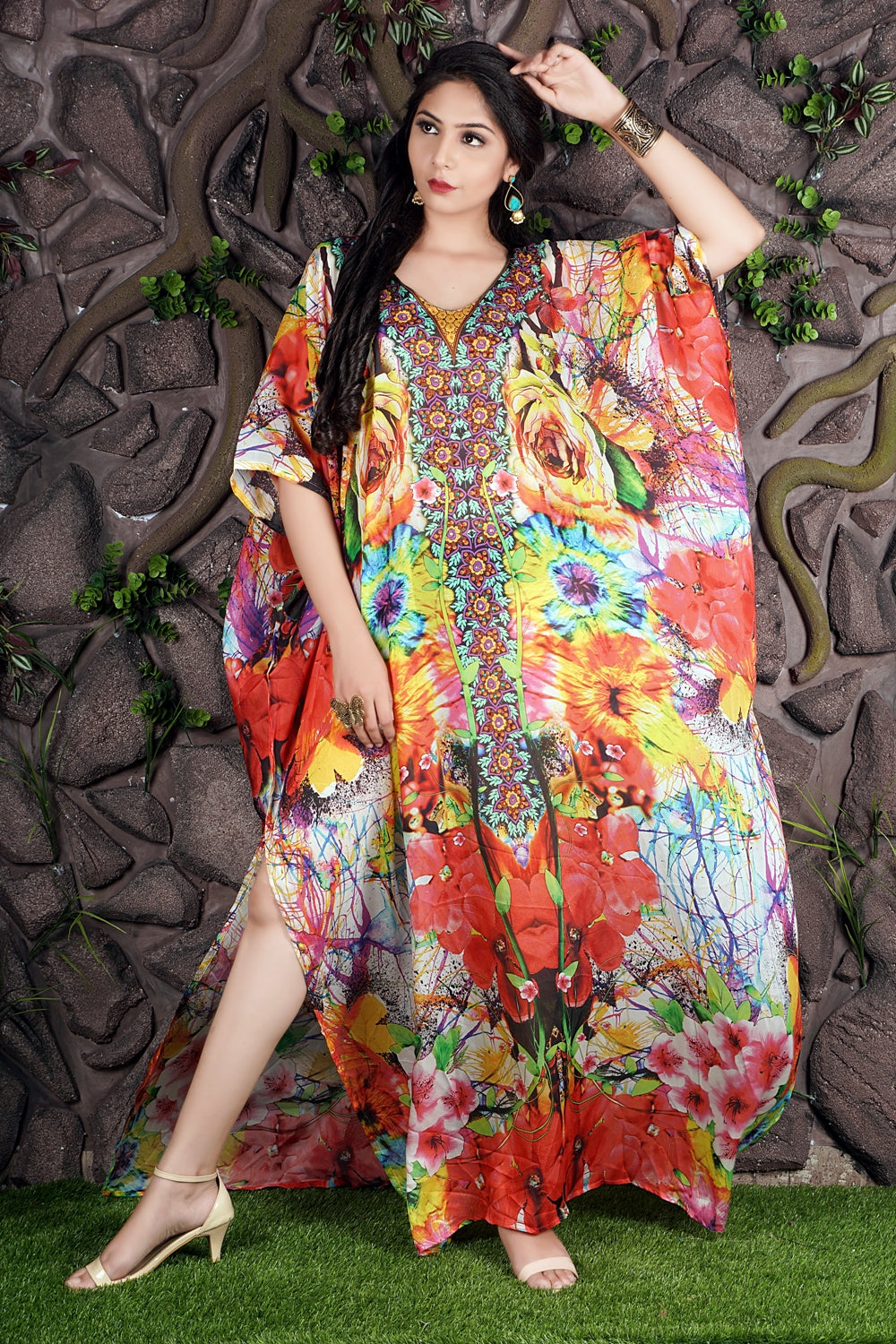 Imperial Art of Floral Print on long Silk Kaftan with Embroidery of Beads at the centre - Silk kaftan