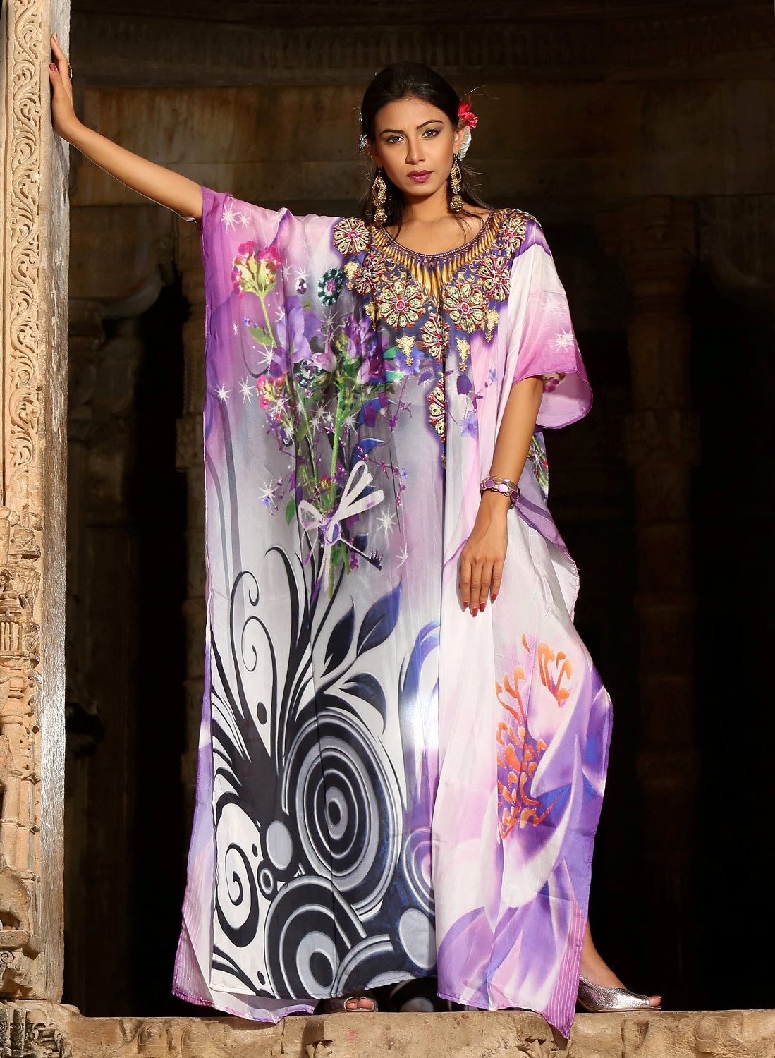 573532d33016d Sparkle like a Star drape Tropical Flora Printed Silk Kaftan blended ...