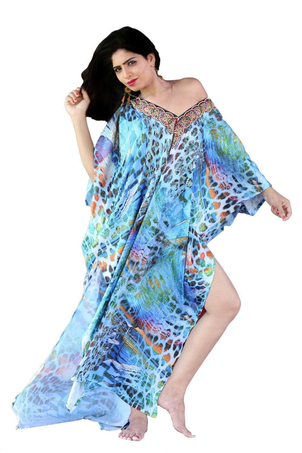 Stylish Marine Coloured Silk Kaftan Dress with Animal Print kaftan Cruise wear kaftan Elegant kaftan - Silk kaftan