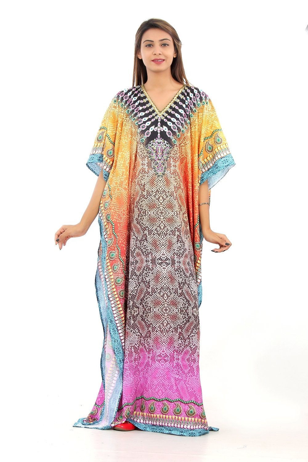 Silk looks and feel kaftan one piece dress on sale beach cover up hot look luxuries kaftan - Silk kaftan