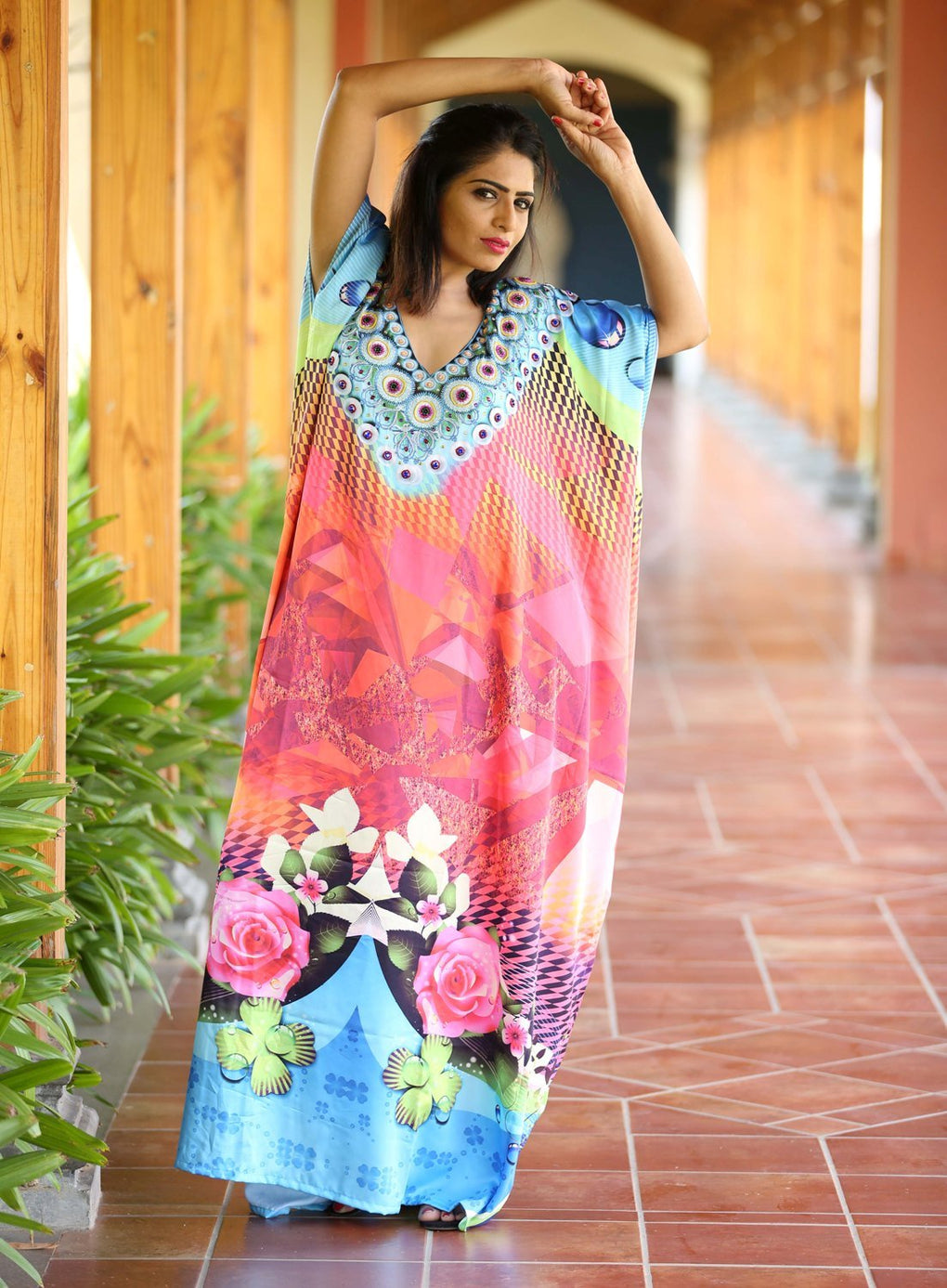Beautiful one piece jewelled full length resort wear beach coverup kaftan dress silk looks and feel kaftan evening maxi gown 94 - Silk kaftan