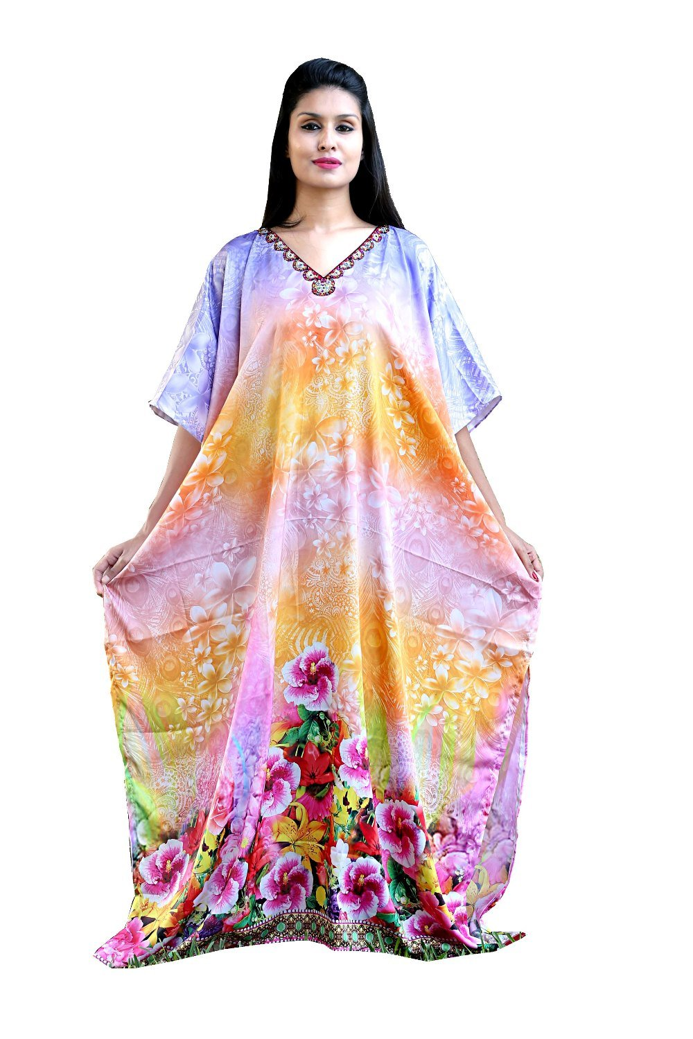 Heavily embellished maxi beach caftan/silk looks and feel kaftan beach and resort wear handmade latest kaftan fashion plus woman 91 - Silk kaftan