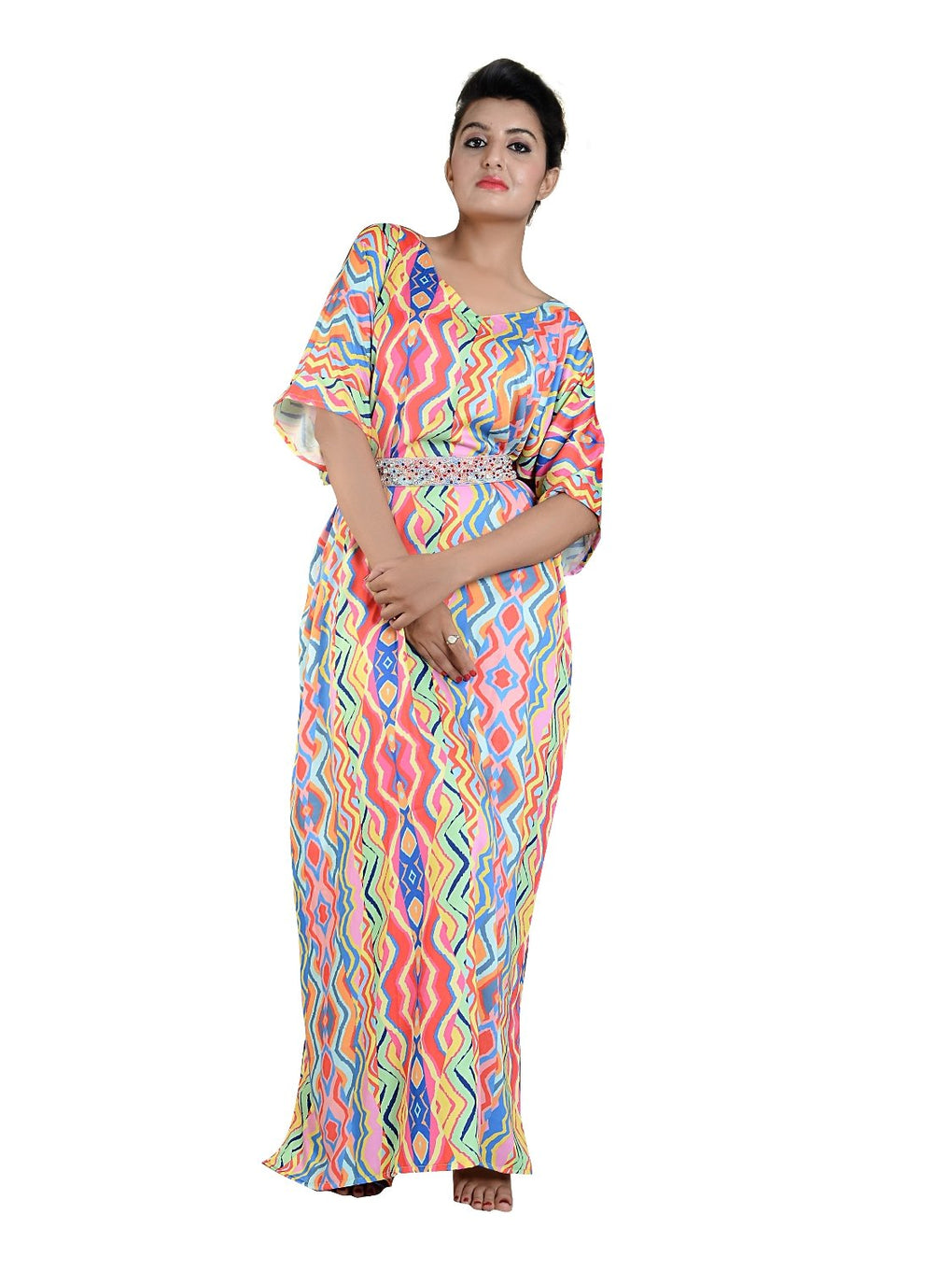 Beautiful one piece jewelled full length resort wear beach coverup kaftan dress silk kaftan evening maxi gown 61 - Silk kaftan