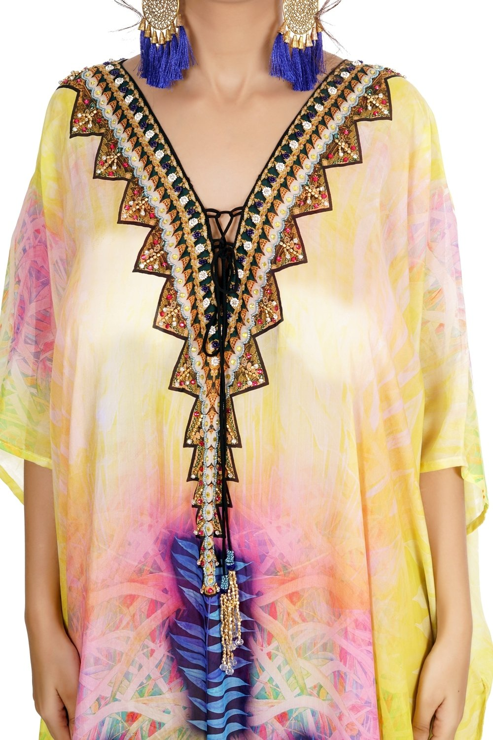 Deep neck with triangular lace up sunshine effect with blue and lavender aesthetic silk kaftan - Silk kaftan