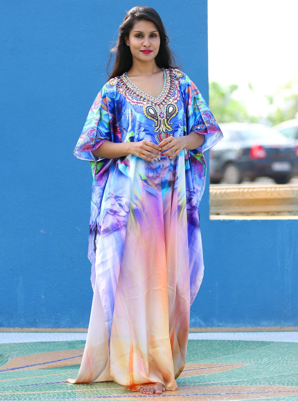 Silk looks and feel kaftan one piece dress on sale/jeweled/handmade/caftan beach cover up hot look luxuries Resort party kaftan 85 - Silk kaftan