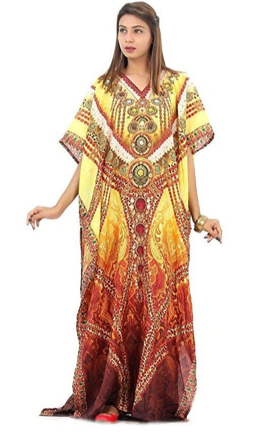 Glitter like Diamonds...printed over Colourful Silk Kaftan gown with pearls and embodiment - Silk kaftan