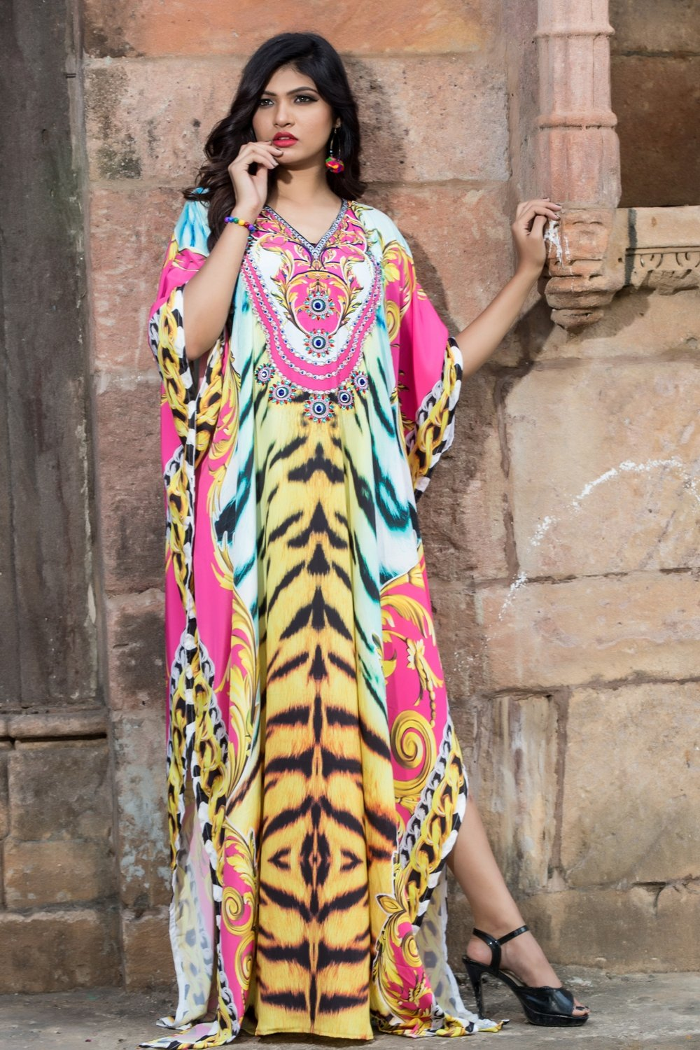 Tigress in silk Kaftan Dress printed with Artistic patterns highly Embellished - Silk kaftan