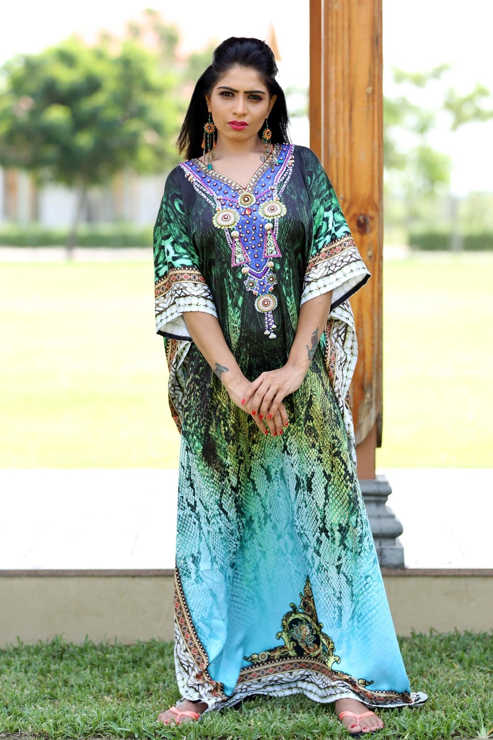 Silk kaftan's pure silk lace up jeweled kaftan www.silkkaftans.com