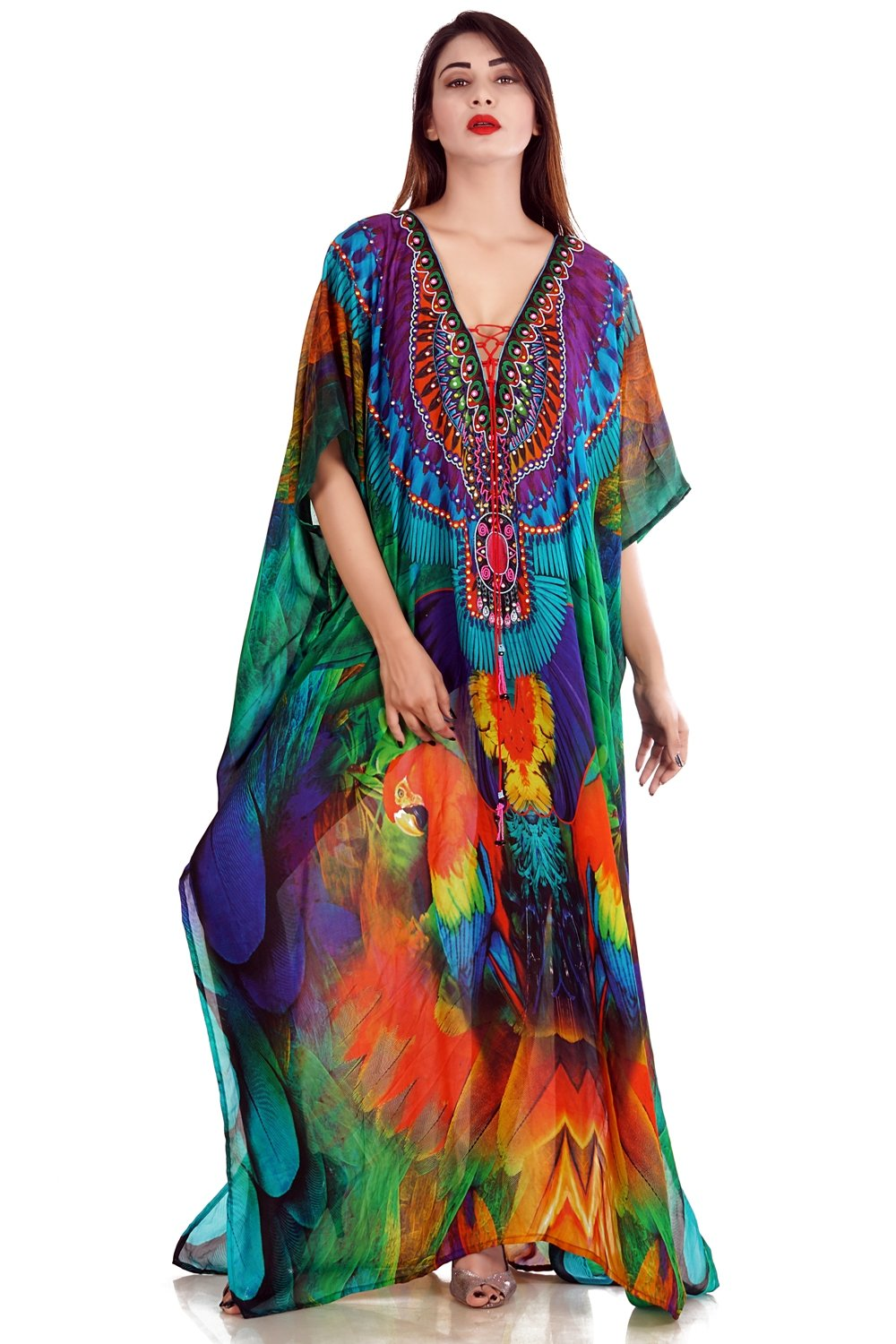 Tropical Bird Print Long silk Kaftan enhanced with Criss-cross Cold Shoulder - Silk kaftan