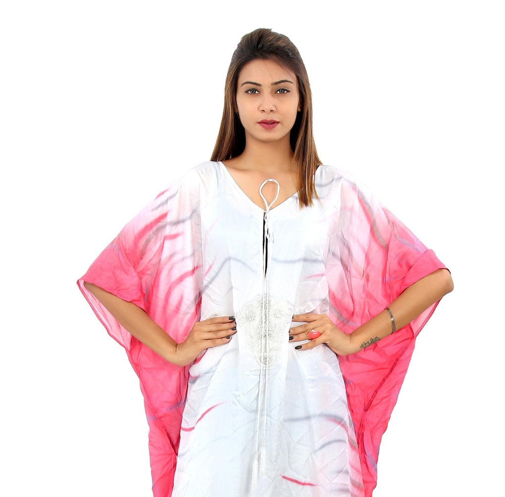 Sequin patch on beautiful white and princess pink silk kaftan beach wear silk cover up kaftan - Silk kaftan