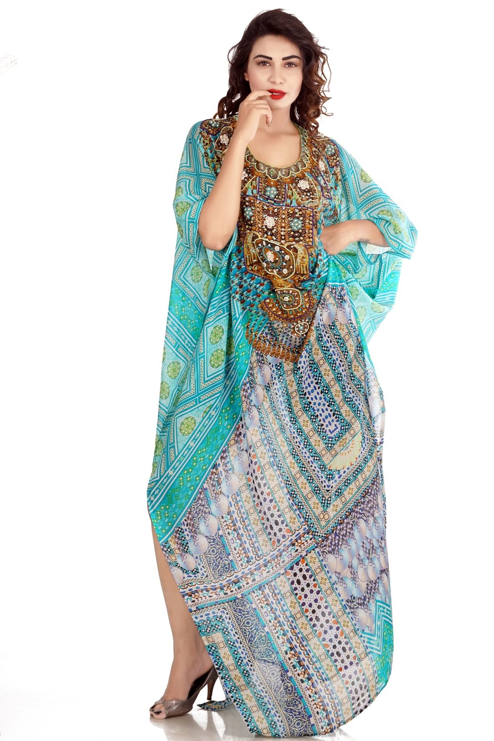 Glorious Traditional Coral Geometric Patterns Printed Full Length Beach pool party kaftan - Silk kaftan